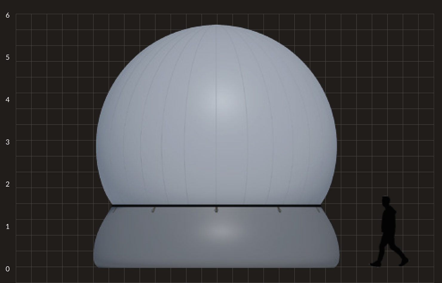 6m Stratosphere, projection mapping dome, temporary structure. Projection sphere for 360 content