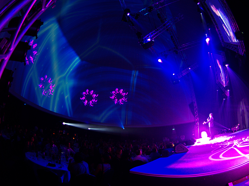 LM Production Stratosphere 360 Projection dome projection stage event venue hosting host 1200 people live special effects branding projected large scale LED wall black out dome