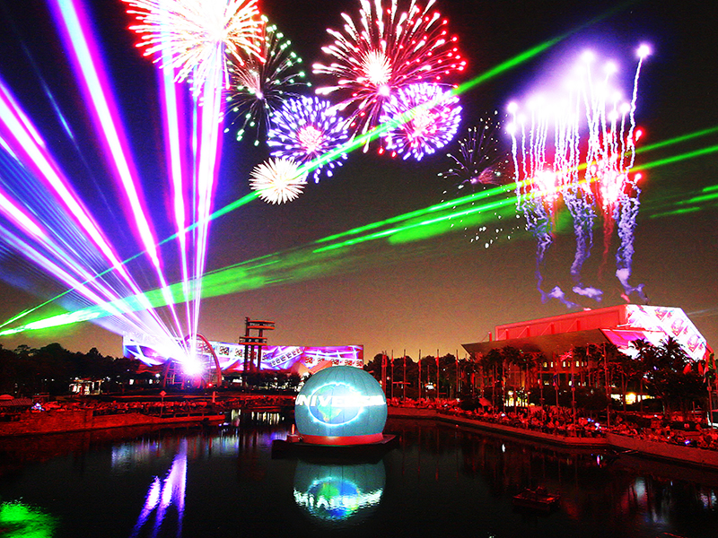 LM Productions Laser Magic Universal Studios theme park Florida USA 360 degree show floating platforms spectacular 60 piece orchestra popular movies content sophisticated high definition projection technology pyrotechnical details